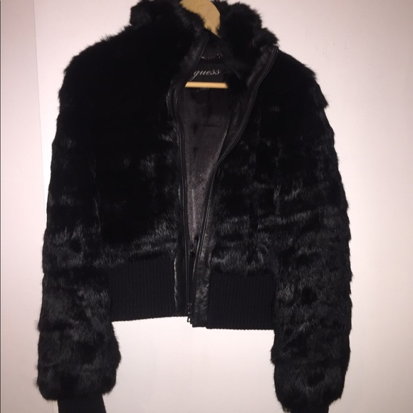 a203cd9d1 Guess bomber rabbit fur jacket with leather trim